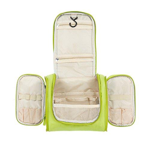 Aedo Trousse de Toilette Pochette Sac Cosmétique Organisateur de Toilette avec Crochet Suspendu en Polyester Beaute Cosmetiques Maquillage Sac de Voyage (Vert)