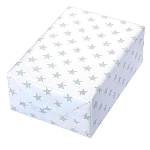 Geschenkpapier Rolle 50 cm x 50 m, Motiv Nova weiß, Sterne glitzern erhaben aus dem perlglanz-schimmernden, weißen Fond hervor. Für Weihnachten, edel.