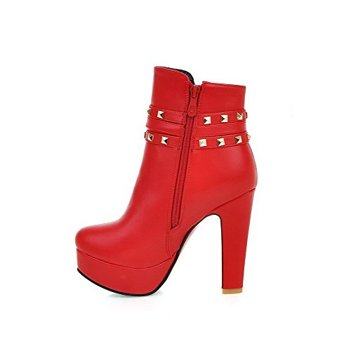 AllhqFashion Damen Reißverschluss Schließen Zehe Hoher Absatz Niedrig Spitze Stiefel Rot