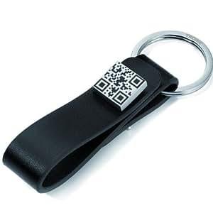 Mr ELEGANT QR Code Porte-clés boutons de manchettes, bande de cuir noir