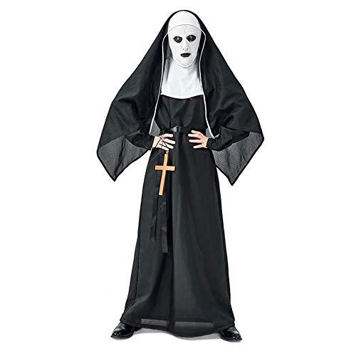 Lbellay Halloween Karneval Horror Klostergeist Nonne Teufels Nonne Neutrale männliche Kleidung Anti-String-Film - Halloween Teufel Kostüm Männlich