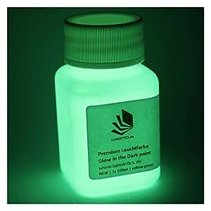 lumentics Premium Leuchtfarbe 100ml - Im Dunkeln leuchtende Farbe, Helle Nachleuchtfarbe, Selbstleuchtende Wandfarbe, UV Glühfarbe (Gelb-Grün)