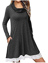 Topassion Women's Casual Long Sleeve Dress Jumper Winter T Shirt Swing Dresses for Lady - Fashion Cowl Neck Lace Hem Pleated Tunic Dress with Pockets Long Shirt Mini Loose Dress Basic Tops