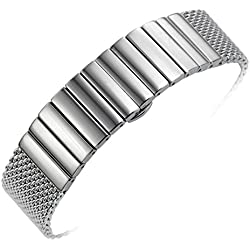 22mm Premium Metal Chain Mesh Watch Band Strap Wristband Replacement in Silver Solid Stainless Steel Links
