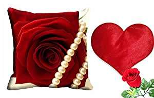 meSleep Red Rose Valentine Cushion Cover (16x16) - With Free Heart Shaped Filled Cushion and Artificial Rose