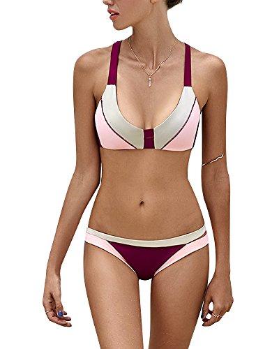 Tomwell Donna Estate Costume Da Bagno Due Pezzi Sexy Patchwork Spiaggia Mare Bikini Sets Reggiseno Imbottito Push-Up Piscina Beachwear Vino Rosso IT 38