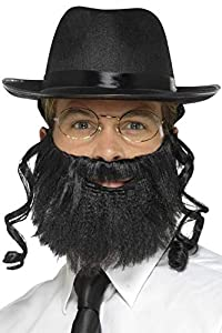 Smiffys-44690 Kit de rabino, con Sombrero con Pelo Pegado, Barba y Gafas, Color Negro, Tamaño único (Smiffy