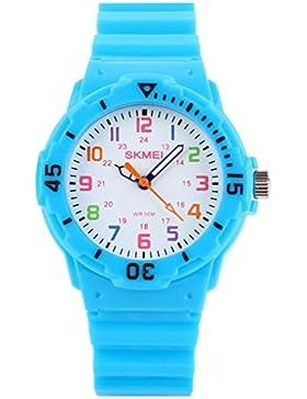 YPS Kindersüßigkeit-Farben-Gummiband-Quarz-Armbanduhr (Light Blue) WTH0943