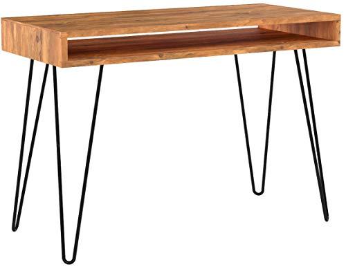Riess Ambiente Retro Schreibtisch Scorpion 100cm Sheesham Holz Stone Finish Massivholz Holztisch Metallgestell Hairpin Legs