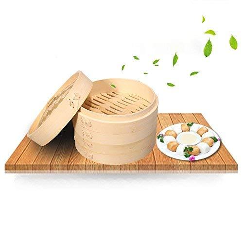 Cestello in bambù per cottura a vapore,con 2 ripiani e coperchio, tradizionale utensili cucina snack verdure cestino da cucina di cottura per la cottura dim sum riso e Vegetab