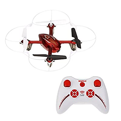 Syma X11 X11C 360-degree Eversion Mini Remote Control Helicopter R/C Quadcopter Drone UFO with LED Lights Propeller Protector (Red) by Syma