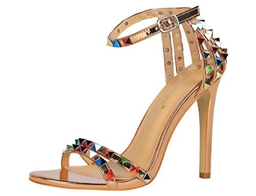 (LUCKY ROAD Rivet High Heels Sandalen Hippie Heavy Metal Stil Sommer Stöckelabsatz Strass Schuhe EU37-40, Multicolor,Natural,EU39)
