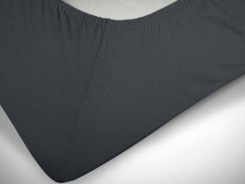 klassisches Jersey Spannbetttuch - erhältlich in 22 modernen Farben und 6 verschiedenen Größen - 100% Baumwolle, 70 x 140 cm, anthrazit - 6