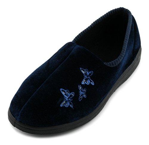 Slumberzzz-pantoufles Pour Femme Avec Des Papillons Brodés Bleu (bleu Foncé)