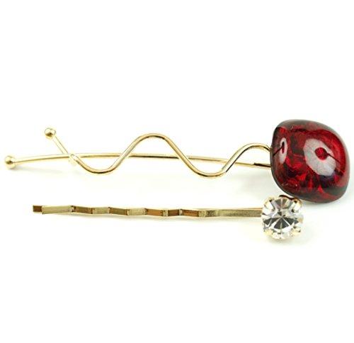 rougecaramel - Accessoires cheveux - Mini pince fantaisie métal doré lot de 2pcs - rouge