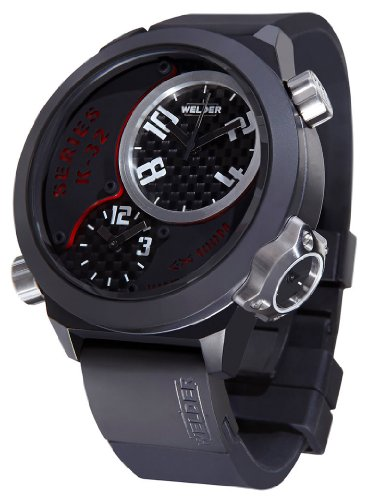 Welder by U-Boat K32 Oversize Triple Time Zone Black Ion-Plated Steel Mens Watch K32-9201