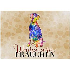 Cadouri Frühstücksbrettchen WEIMARANER FRAUCHEN Glasschneidebrett Schneidebrettchen – 28,5 x 20 x 0,4 cm