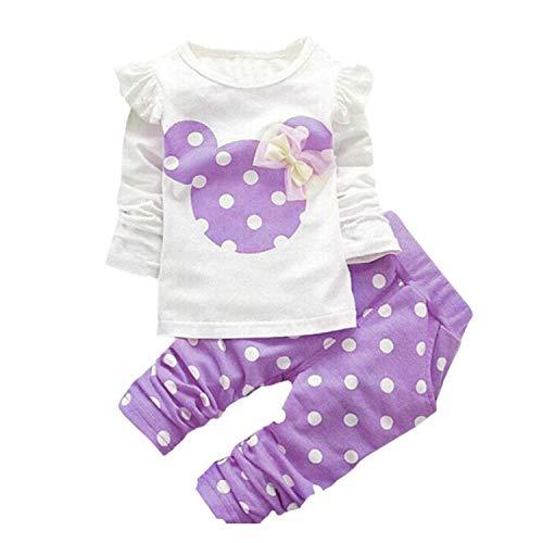 JIAJIA YL Baby Mädchen Kleidung Set Top Langarm Shirt + Pants Bekleidungsset Outfits (Purple, 18-24M) -