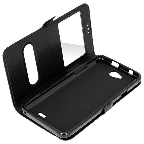Étui, Pochette double fenêtre ultra-fine pour Logicom L-ement 551 - Noir