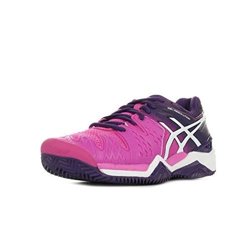 Asics Mujer Tenis Zapatos Gel de resolución 6 Clay E553J - Hot Fucsia/White Púrpura, 38 EU