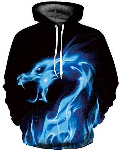 Ocean Plus Jungen 3D Kapuzenpullover Spaß Sweatshirt Hoodie mit Kängurutasche Sportlich Digitaldruck Pullover mit Kapuze (M (Körpergröße: 115-125cm), Blauer Feuer Drache)