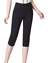 e06a5c274471a Kasen Mujer Pantalones Recortados Pitillo Casuales De Alta Cintura  Elásticos Pantalones