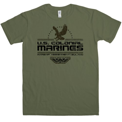 en Us Colonial Marines T Shirt - Large - Olive (Colonial Mann)