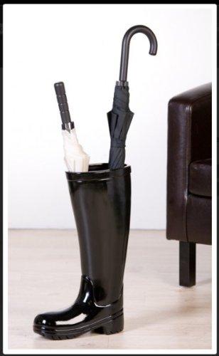 Casa Padrino Designer Schirmständer Stiefel, Höhe 45 cm, edle Skulptur aus Keramik schwarz - Edel & Prunkvoll