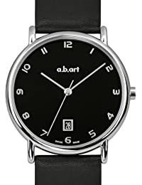 a.b.art Men's Quartz Watch with Black Dial Analogue Display and Black Leather Strap KLD108