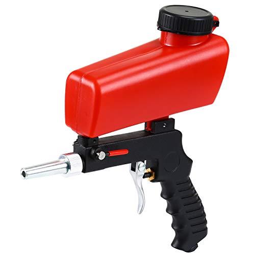 ENJOHOS Handheld Druckluft Sandstrahlpistole mit rotes Trichter, Pneumatische Sandstrahlpistole, tragbare Gravity Gun Sandblasting Pneumatic Sandblasting Set/Kit,Kleine Sandstrahlmaschine