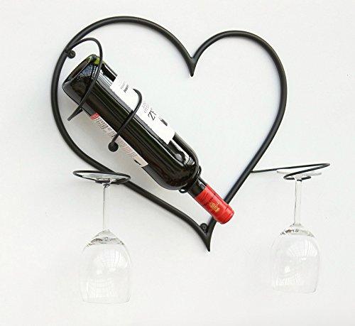 DanDiBo Weinregal Mit Glashalter Metall Wand Herz Flaschenständer 38 cm Flaschenhalter Wandmontage