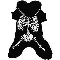 M&A Traje Ropa Disfraz Luminoso Para Perros Dibujos Esqueleto En Carnaval Halloween Navidada Invierno Negro XL