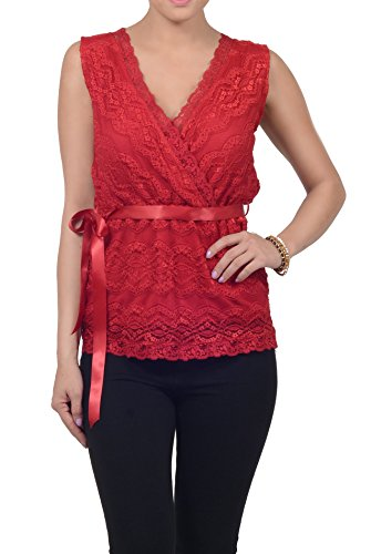 Femmes Blouse Top formelle manches Ruffle Knit col en V rouge rubis