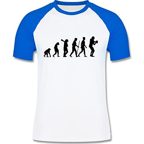 Evolution - Football Evolution - zweifarbiges Baseballshirt für Männer Weiß/Royalblau