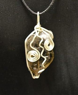 Le Quartz Fumé pendentif cristal cristal brut entouré de fils sur cordon réglable pour le Reiki et la guérison chakra