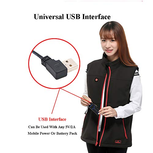 41MvU s3FSL. SS500  - DZX Electric Warm Clothes/Heating Vest,USB Cable (unisex/Black)- For Outdoor Travel Camping Bike Skiing,XS