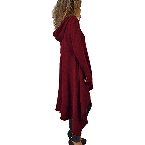 Minetom Femme Manteau Manches Longues Tunique Sweats A Capuche Pullover Jumper Blouse Asymmetric Longue Robe Vin rouge