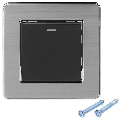 Ogquaton Interruptor de luz de Acero Cepillado Gris 1 cuadrante Interruptor de...