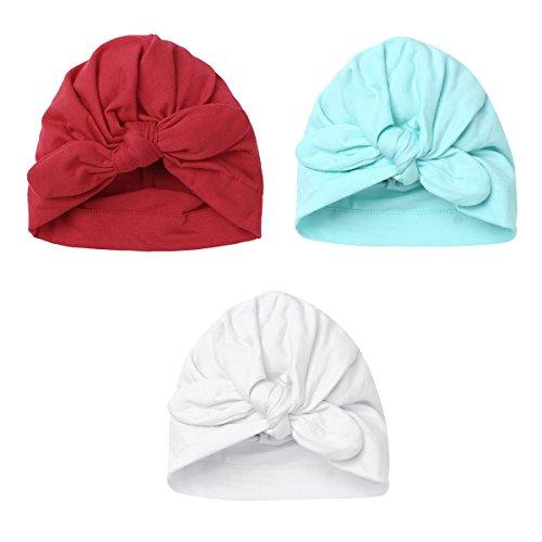 YiZYiF Lot de 3 Bébé Bonnets Nouveau né Coton Crochet Papillons Chapeau  Unisexe Bébé Garçon Fille db2dfc80a68