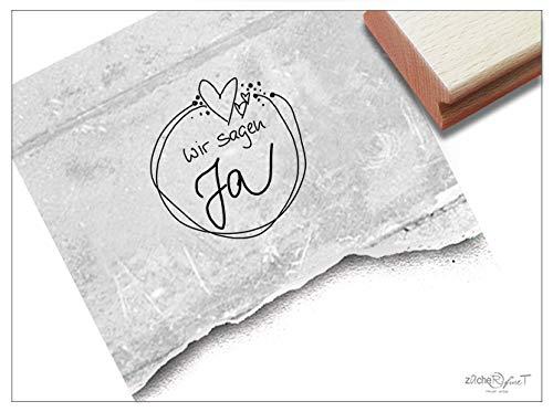 Stempel Hochzeitsstempel WIR Sagen JA in Handschrift, 2 Größen - Textstempel zur Hochzeit, für Einladungen Heiratsanzeige Tischdeko - zAcheR-fineT