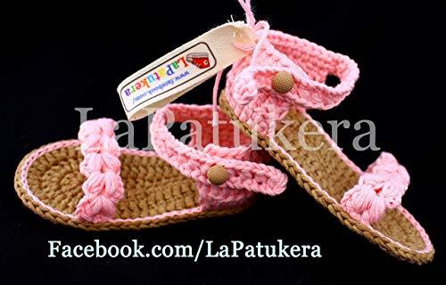 Sandalen Booties Modell Trenzada (geflochtene), Babyschuhe häkeln. Farbe Rosa baby, aus 100% Baumwolle, 4 Größen 0-12 Monate. handgefertigt in Spanien. Turnschuh gehäkelt gestrickt. Geschenk fürs Baby