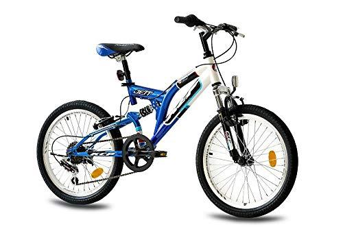 KCP 20 Zoll Mountainbike Kinderfahrrad - JETT FSF weiss blau - Vollfederung Kinder Fahrrad für Jungen und Mädchen mit 6 Gang Shimano Schaltung - für Kinder zwischen 6-9 Jahre und 1,20-1,40m Körpergröße (20-zoll-fahrräder Kinder Für)