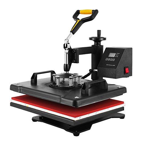 Cueffer Prensa de Calor 1400W 30.5x38cm Maquina de Prensa de Calor Prensa de Impresión para Gorras Camiseta con Temperatura Digital y Rotación de 360° (6 en 1)