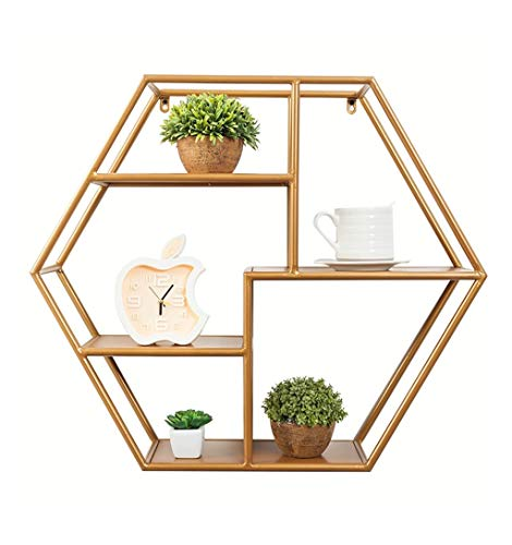 GWFVA Wandregal Metall Eisen für Wohnzimmer Schlafzimmer verwendet für Bücherregal Lagerung Display Rack schwimmende dekorative Einheit Rahmen Retro Loft Industrial Style (Farbe: Gold) -