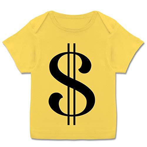 Karneval und Fasching Baby - Dollar Kostüm - 68-74 (9 Monate) - Gelb - E110B - Kurzarm Baby-Shirt für Jungen und Mädchen (Dollar Baby Kostüm)