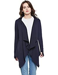 118c1310abf ... Capes   3XL. Hypernation Navy Blue Color Cotton Waterfall Shrug For  Women