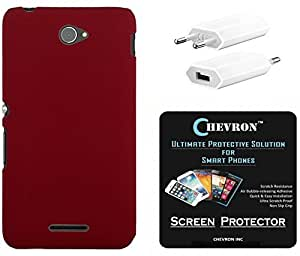 Chevron Rubberized Matte Texture Back Cover Case for Sony Xperia E4 with HD Screen Guard & USB Mobile Wall Charger (Bloody Red)