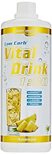 Best Body Nutrition - Low Carb Vital Drink, Ananas, 1000 ml Flasche