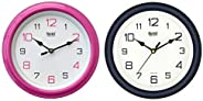 Ajanta Plastic Round Wall Clock (20.5 cm x 20.5 cm x 3.5 cm, Pink) & Quartz Office Clock (AQ-2147) C
