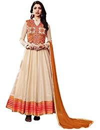 Like A Diva Off White Art Silk Collared Floor-Length Anarkali Suit Dress Material With Thread Embroidered Jacket For Women